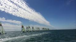 49er sailing under blue skies